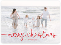 This is a red holiday photo card by Melanie Severin called Playful Script with standard printing on smooth signature in standard.