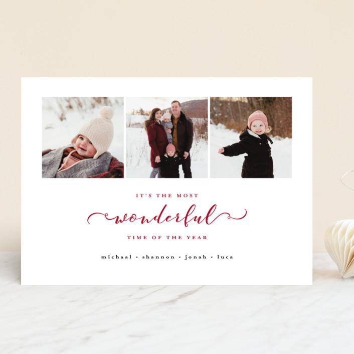 """""""Most Wonderful Time of the Year"""" - Holiday Photo Cards in Crimson by Kasia Labocki."""