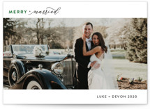 This is a green holiday photo card by Christie Garcia called Simply Married with standard printing on smooth signature in standard.