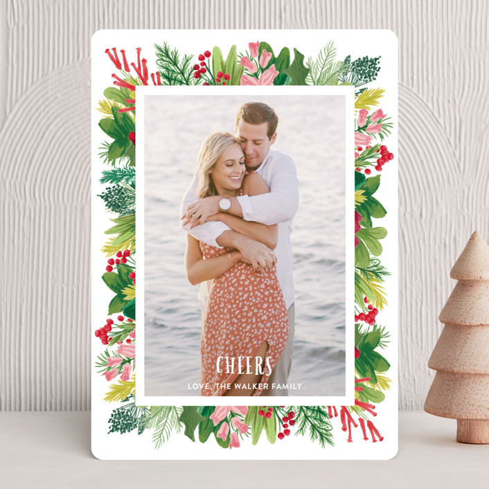 """""""Tropical Pines Frame"""" - Holiday Photo Cards in Sapphire by Shiny Penny Studio."""