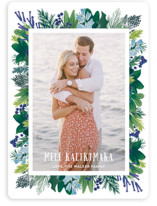 This is a blue holiday photo card by Shiny Penny Studio called Tropical Pines Frame with standard printing on smooth signature in standard.