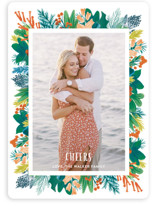 This is a green holiday photo card by Shiny Penny Studio called Tropical Pines Frame with standard printing on smooth signature in standard.