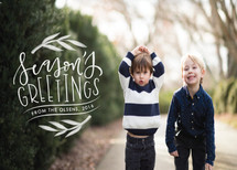 Seasons greetings badge Holiday Photo Cards By Lyna Ti