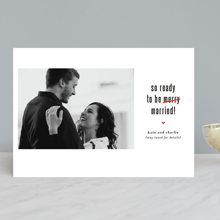 """Be Married"" - Funny Holiday Photo Cards in Snow by Susan Brown."
