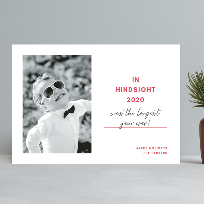 """Hindsight"" - Funny Holiday Photo Cards in Cherry by Toast & Laurel."