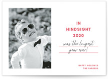 This is a red holiday photo card by Toast & Laurel called Hindsight with standard printing on smooth signature in standard.