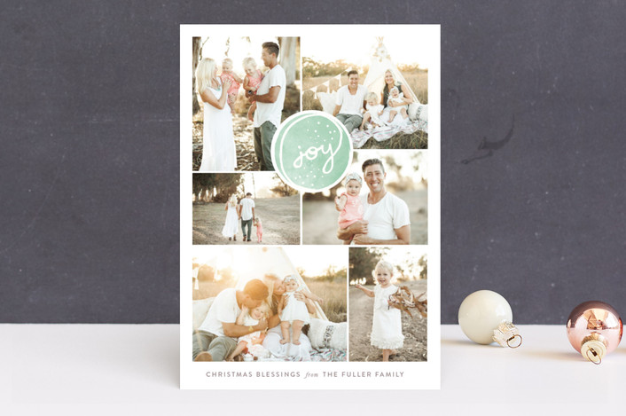 """Soft Encircling Joy"" - Holiday Photo Cards in Wintergreen by Ashley Hegarty."