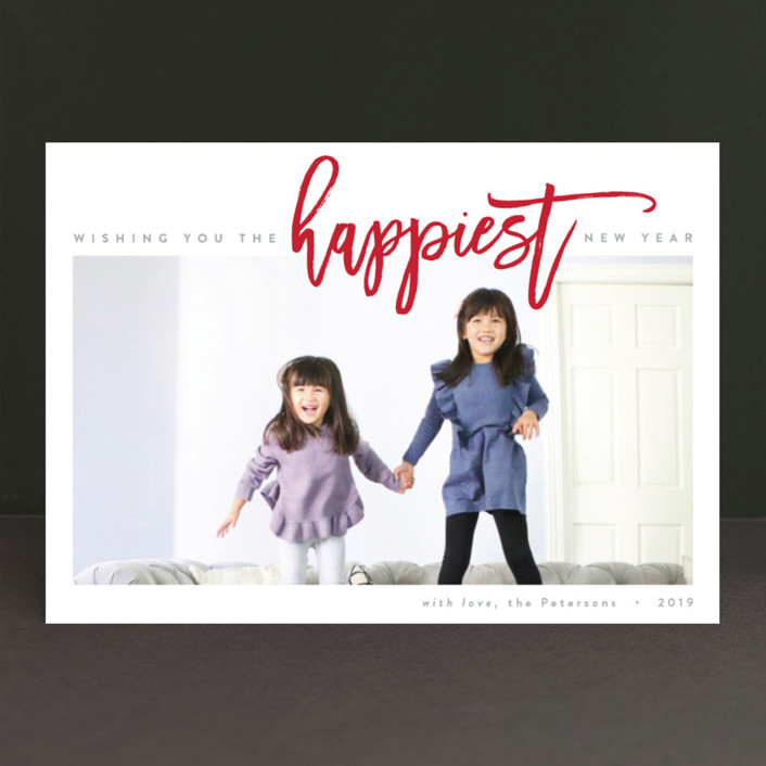 """The Happiest Holiday"" - Holiday Photo Cards in Berry Red by JoAnn Jinks."