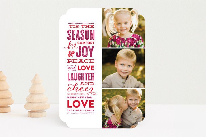 """""""The Festive Type"""" - Typography, Bold typographic Holiday Photo Cards in Berry by Lauren Chism."""
