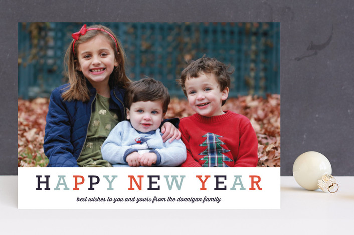 """Famille"" - Holiday Photo Cards in Tangerine by Carrie ONeal."