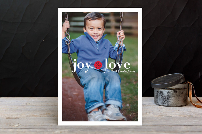 """Little Joy"" - Holiday Photo Cards in Cherry by Carrie ONeal."