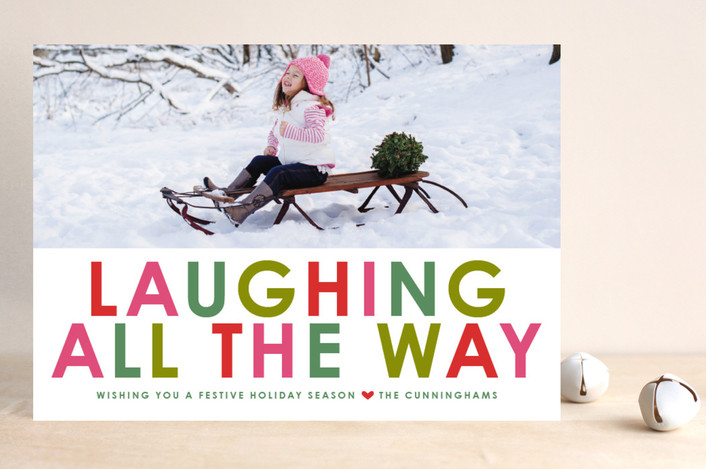 """Winter Brights"" - Bold typographic, Bold typographic Holiday Photo Cards in Hunter by toast & laurel."