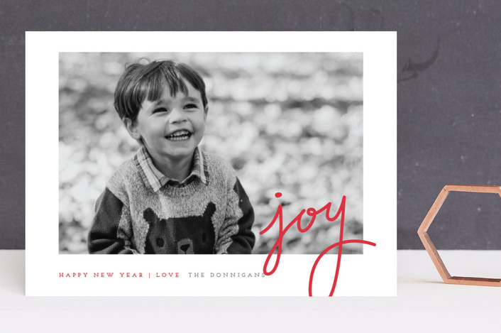 """Dotted Joy"" - Elegant, Minimalist Holiday Photo Cards in Brick by Stacey Meacham."