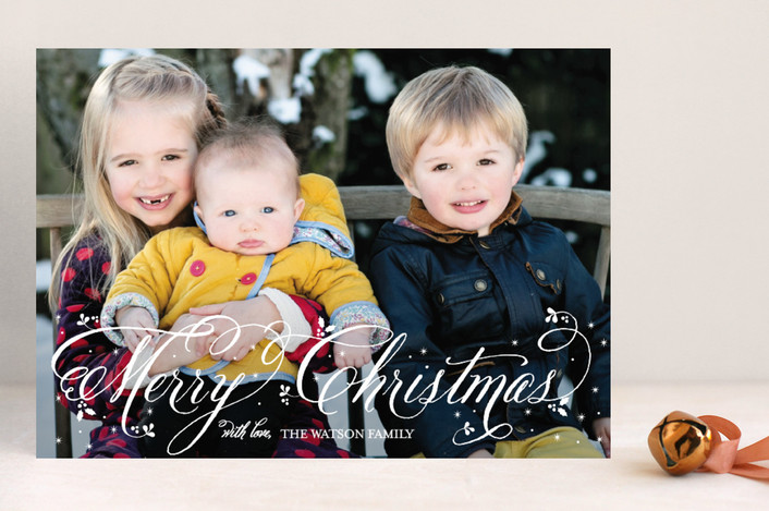"""""""Twinkling Snow"""" - Full-Bleed Photo Holiday Photo Cards in Snow by Coco and Ellie Design."""