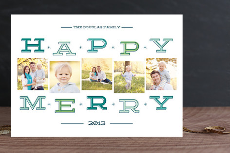 Happy Merry Squares Holiday Photo Cards