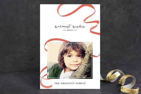 Ribbon Happy Holiday Photo Cards