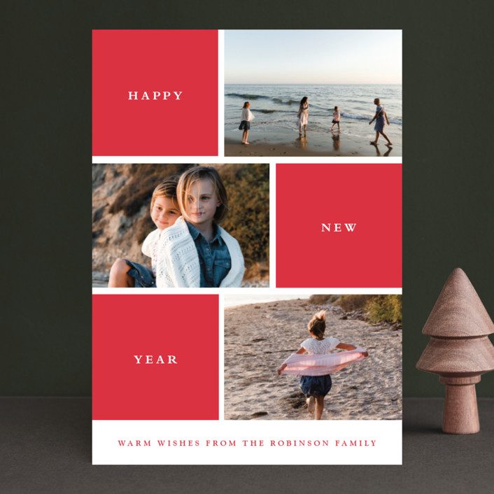 """Photo Session"" - Modern, Minimalist Holiday Photo Cards in Cherry by Stacey Meacham."