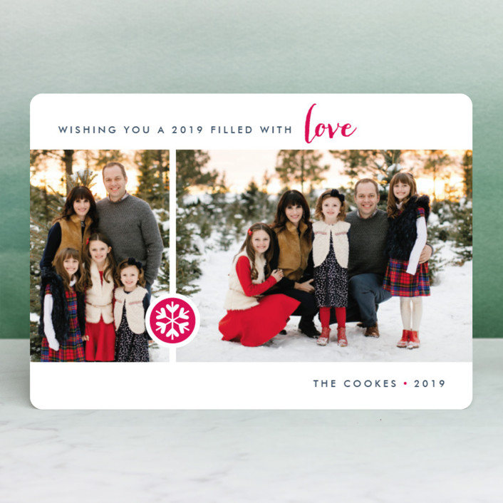 """Season of Love"" - Modern Holiday Photo Cards in Rasberry by Three Kisses Studio."