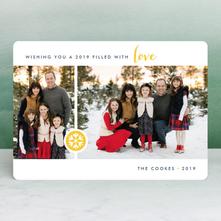 """""""Season of Love"""" - Holiday Photo Cards in Raspberry by Three Kisses Studio."""