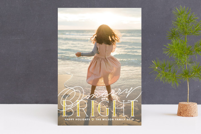 """""""Golden Bright"""" - Modern, Typography Holiday Photo Cards in Gold by Melanie Severin."""