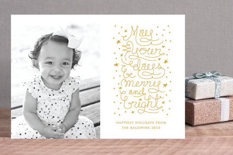 Merry and Bright Script Holiday Photo Cards