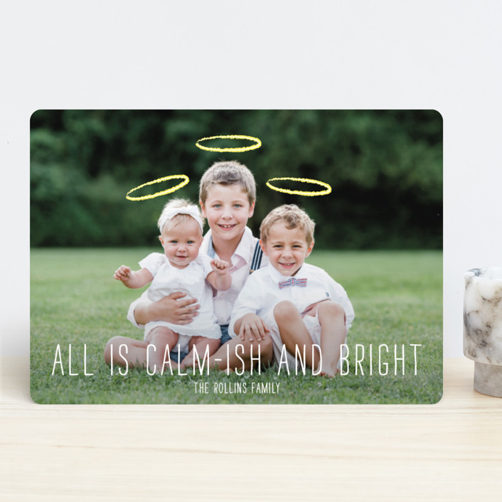 """Calm-ish + Bright"" - Modern Holiday Photo Cards in Angel White by Lizzy McGinn."