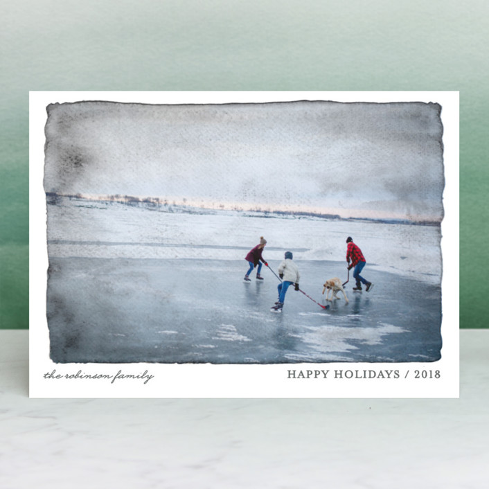 """""""Aquarelle"""" - Holiday Photo Cards in Turquoise by cambria."""