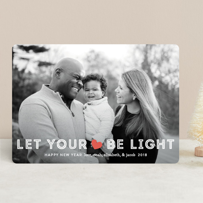 """Be Light"" - Holiday Photo Cards in Holly Red by Jennifer Wick."
