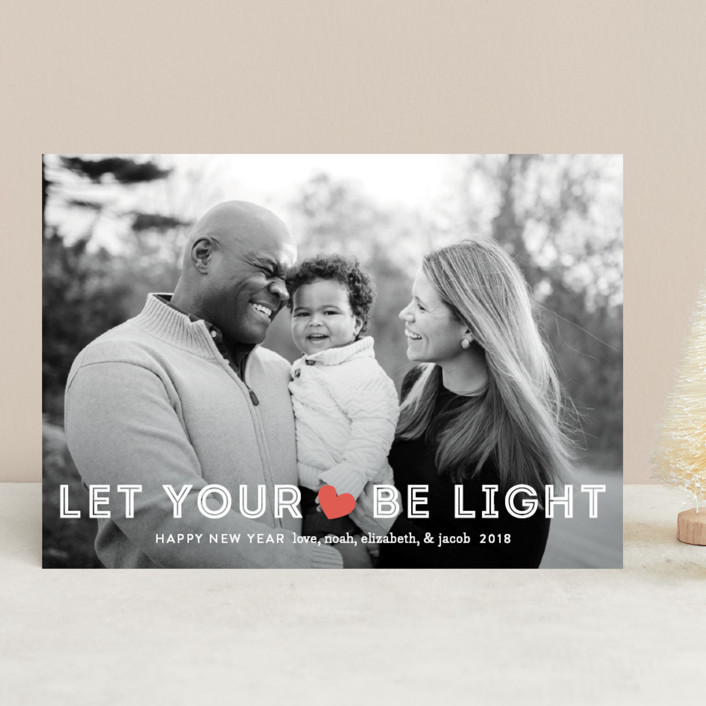 """Be Light"" - Full-Bleed Photo Holiday Photo Cards in Holly Red by Jennifer Wick."