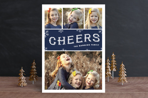Cheerful Snowfall Holiday Photo Cards