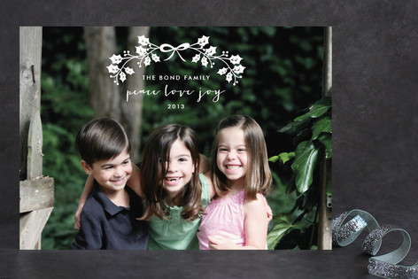 Bow and Wreath Holiday Photo Cards