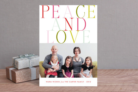 colorful merry and happy Holiday Photo Cards