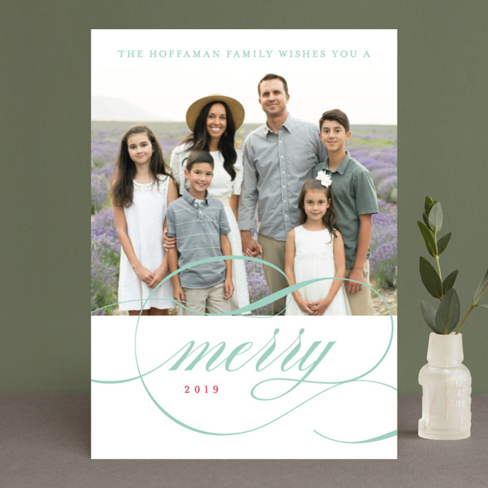 """Classic Stripes and Swashes"" - Holiday Photo Cards in Holly by Susan Brown."