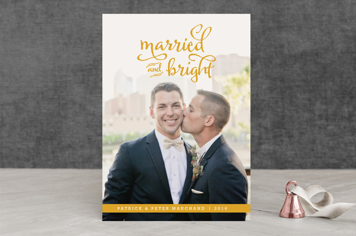 """Married and Bright"" - Modern, Full-Bleed Photo Holiday Photo Cards in Canary Gold by Squareview Studios."
