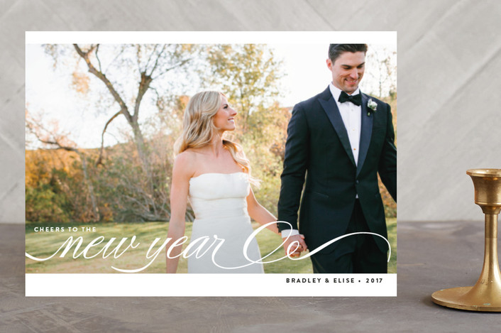 """Married + Bright"" - Elegant Holiday Photo Cards in Coconut by Bourne Paper Co.."