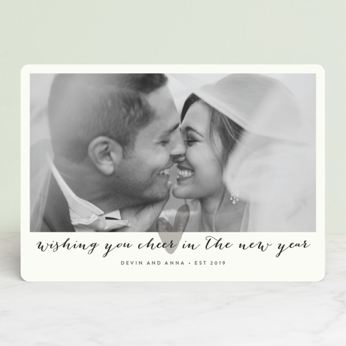 """""""Married Little Heart"""" - Holiday Photo Cards in Silver by Roxy Cervantes."""