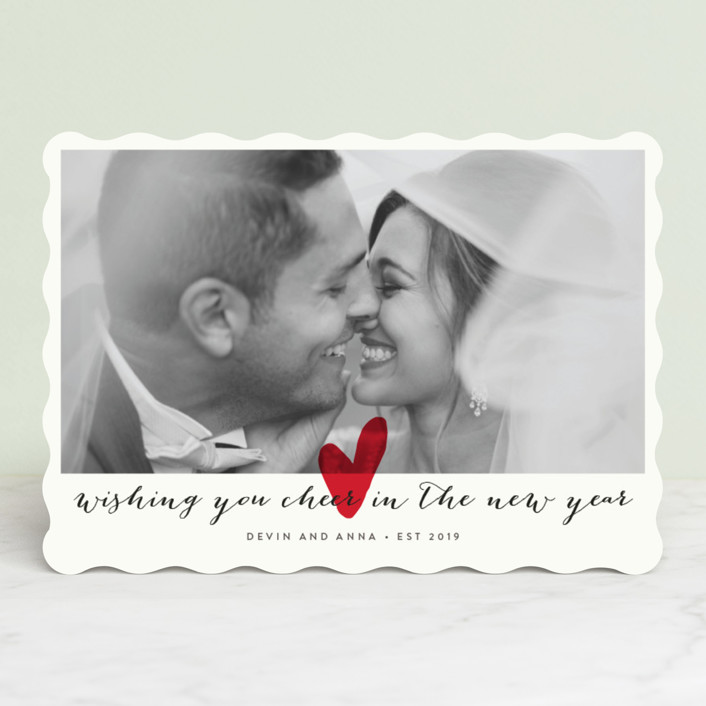 """""""Married Little Heart"""" - Minimalist Holiday Photo Cards in Cherry by roxy."""