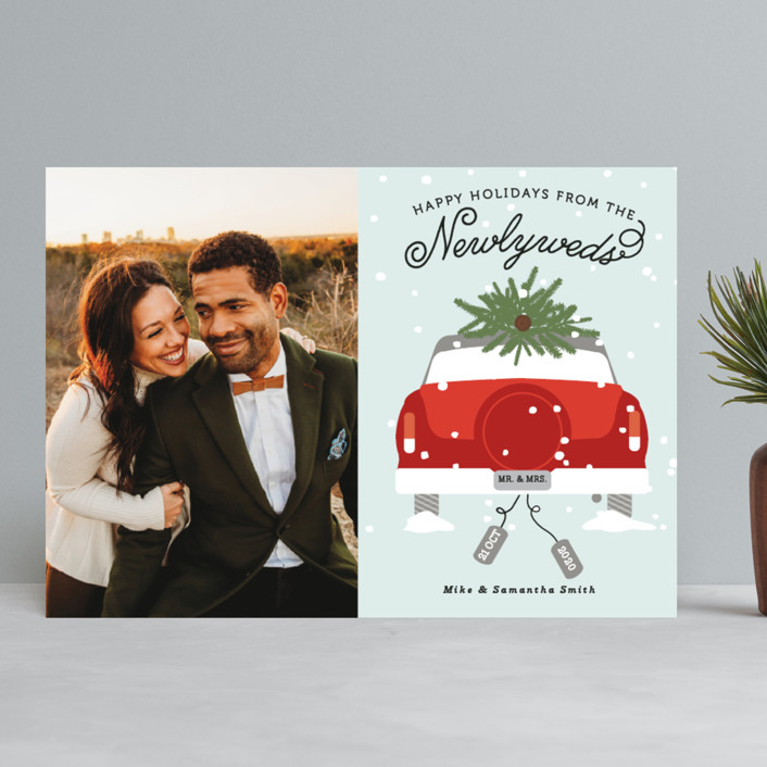 """Newlywed Christmas"" - Holiday Photo Cards in Misteltoe by Bonjour Berry."