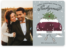 This is a purple holiday photo card by Bonjour Berry called Newlywed Christmas with standard printing on smooth signature in standard.