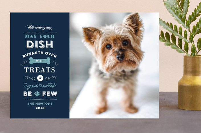 """Four Legged Friend"" - Modern, Typography Holiday Photo Cards in Boysenberry by Sandra Picco Design."