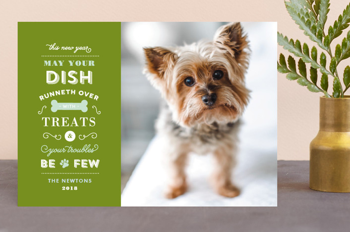 """""""Four Legged Friend"""" - Funny Holiday Photo Cards in Boysenberry by Sandra Picco Design."""