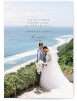 This is a black holiday photo card by Heather Cairl called Love, Joy, and New Adventures with standard printing on smooth signature in standard.