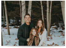 This is a black holiday photo card by Ekko Studio called Simple Script with standard printing on recycled smooth signature in standard.