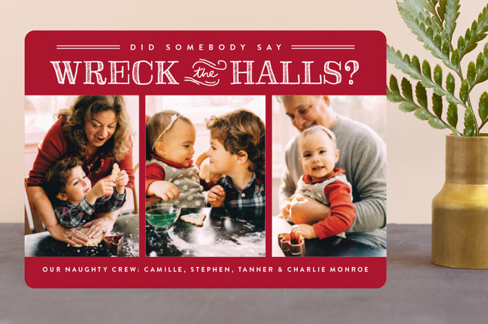 """Wreck the Halls"" - Funny Holiday Photo Cards in Smashed Cranberries by Sara Hicks Malone."