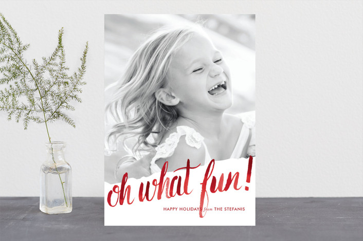 """""""Oh What Water Color"""" - Holiday Photo Cards in Cardinal by Ashley Ottinger."""