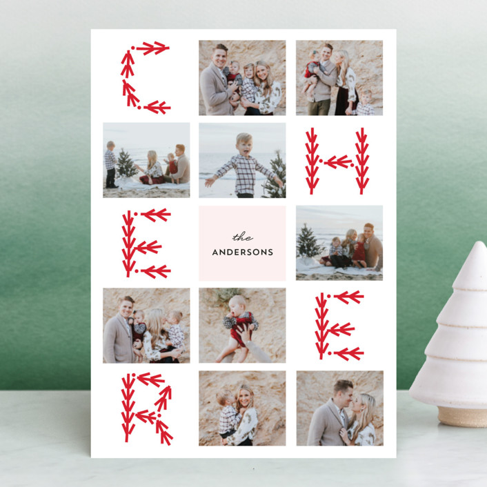"""""""Merry Collage"""" - Holiday Photo Cards in Holly by Anupama."""