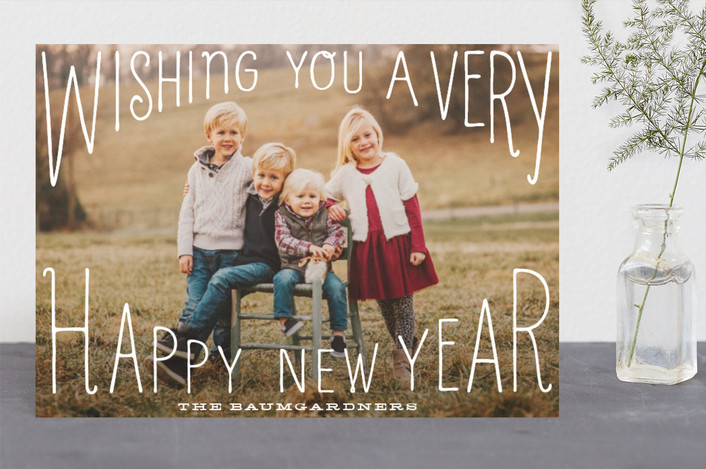 """Merry Wishes Overlay"" - Vintage Holiday Photo Cards in Milk by Baumbirdy."