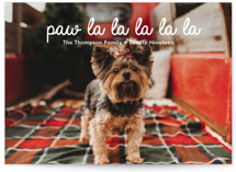 This is a white holiday photo card by Jair called paw-la-la with standard printing on smooth signature in standard.