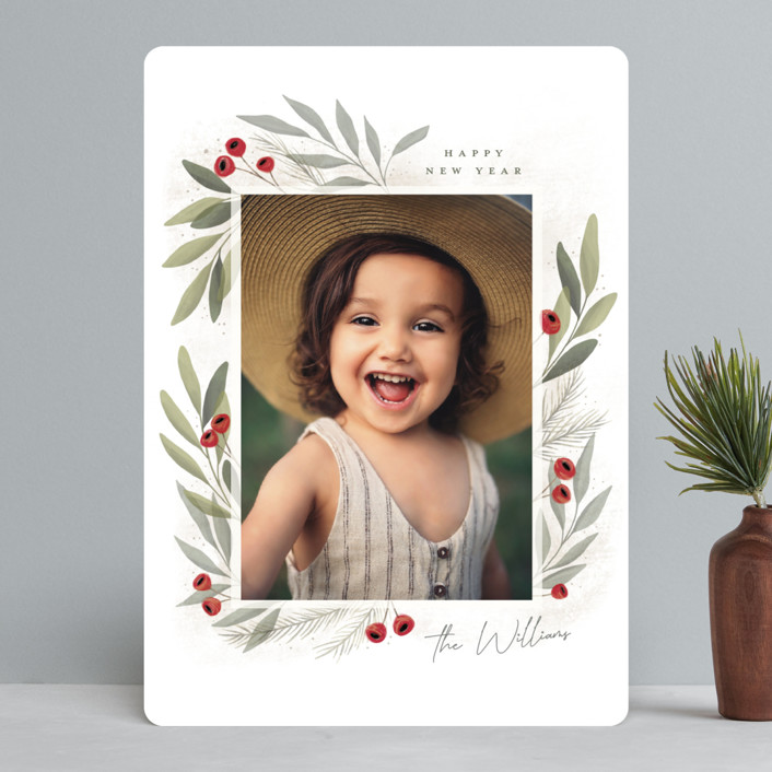 """Merry Botanical"" - Holiday Photo Cards in Pearl by Cindy Reynolds."