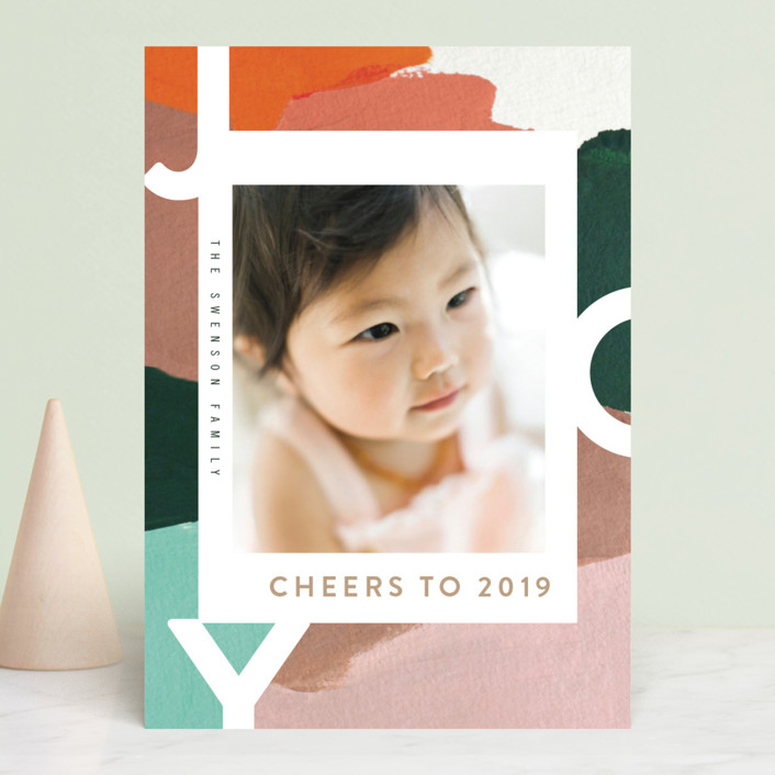 """""""Peace for You"""" - Modern Holiday Photo Cards in Tutti Fruiti by Moglea."""